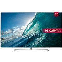 LG OLED65B7V OLED HDR 4K Ultra HD Smart TV, 65 with Freeview Play, Dolby Atmos, Picture-On-Metal Design & Crescent Stand, Silver