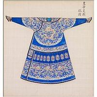 V&A Blue Summer Court Robe Unframed Print, 40 x 30cm