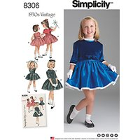 Simplicity Children's Vintage 1950s Dress and Lined Jacket Sewing Pattern, 8306