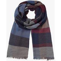 John Lewis Weight Check Wool Scarf, Burgundy/Blue