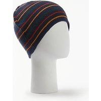 John Lewis Two-Way Striped Beanie Hat, Navy/Multi