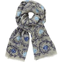 John Lewis Floral Embroidery Wool Scarf, Grey/Blue