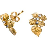 Dower & Hall White Topaz Wild Rose Leaf Stud Earrings