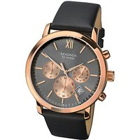 Sekonda Mens Chronograph Date Leather Strap Watch