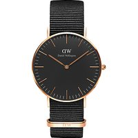 Daniel Wellington DW00100150 Unisex Cornwall Fabric Strap Watch, Black