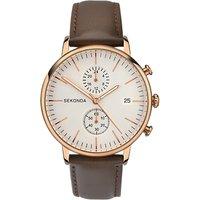 Sekonda 1381.27 Mens Chronograph Date Leather Strap Watch, Brown/Cream