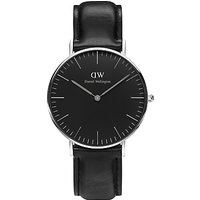 Daniel Wellington DW00100145 Unisex Sheffield Leather Strap Watch, Black