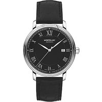 Montblanc 116482 Mens Tradition Automatic Date Leather Strap Watch, Black