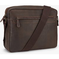John Lewis and Partners Toronto Leather Messenger Bag, Brown