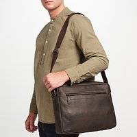 John Lewis Toronto Leather Messenger Bag, Brown