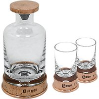 English Pewter Company Glass Mini Decanter Set With Copper Hammered Base, 180ml