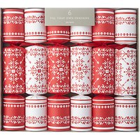 John Lewis Folklore Snowflake Fill Your Own Christmas Crackers, Pack of 6, Red/White