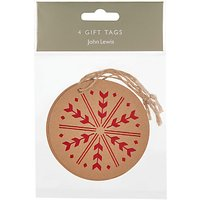 John Lewis Snowflake Round Gift Tags, Pack of 4