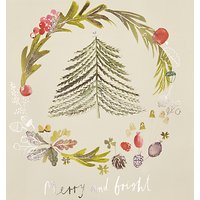 John Lewis Tree Wreath Charity Christmas Cards, Pack of 6