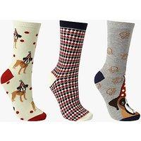 John Lewis Boxer Dog Ankle Socks  Pack of 3  Multi
