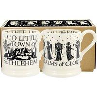 Emma Bridgewater Christmas Carols Half Pint Mugs, Black/White, 310ml, Set of 2