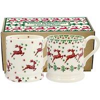 Emma Bridgewater Reindeer Half Pint Mug, Multi, 310ml, Set of 2
