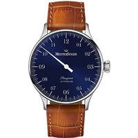 MeisterSinger PM908 Unisex Pangaea Automatic Leather Strap Watch, Cognac/Sunburst Blue