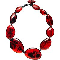 Jackie Brazil Riverstone Tortoise Short Necklace, Red