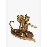 John Lewis Deco Mouse Candle Holder, Brass