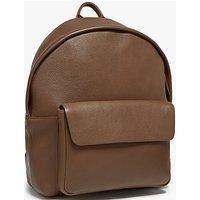 John Lewis Boston Leather Backpack, Chocolate