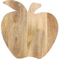 John Lewis Apple Shaped Mango Wood Chopping Board, Natural/Red