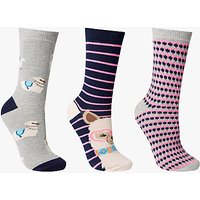 John Lewis Alpaca In Glasses Ankle Socks, Pack of 3, Multi