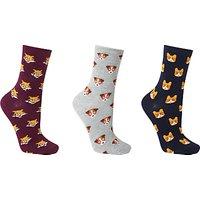 John Lewis Mini Animal Faces Ankle Socks, Pack of 3, Multi