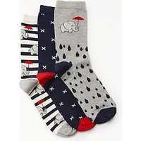 John Lewis Elephant In The Rain Ankle Socks, Pack of 3, Multi