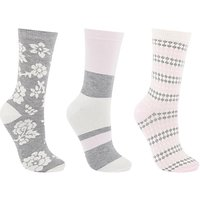 John Lewis Floral Ankle Socks, White/Multi