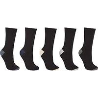 John Lewis Cotton Blend Ankle Socks, Pack of 5, Black/Multi