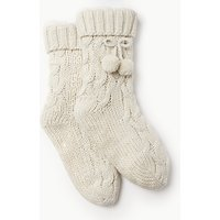John Lewis Cable Knitted Bootie Socks, Cream