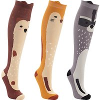 John Lewis Woodland Animals Print Knee High Socks, Pack of 3, Multi
