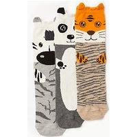John Lewis Wild Animal Ankle Socks  Pack of 3  Grey Natural