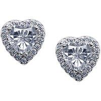 CARAT* London Cora Sterling Silver Heart Stud Earrings, Clear