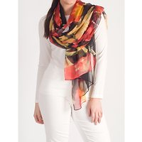 Chesca Abstract Floral Printed Crinkle Chiffon Scarf, Black/Red