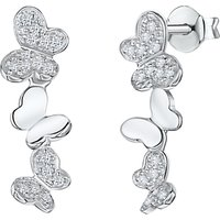 shop for Jools by Jenny Brown Cubic Zirconia Drop Butterfly Earrings, Silver at Shopo