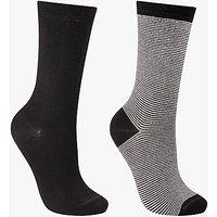 John Lewis Stripe Ankle Socks, Pack of 2, Black
