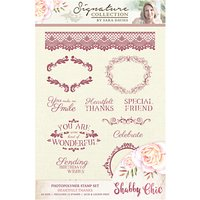 Crafters Companion Shabby Chic Heartfelt Thanks Stamps, Pack of 12