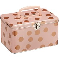 John Lewis Metal Spot Print Sewing And Craft Vanity Storage Box, Pink/Copper
