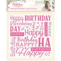 Crafters Companion Birthday Party Birthday Greetings 6 x 6 Embossing Folder