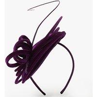 John Lewis Carrie Velvet Pillbox Fascinator, Purple