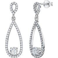 shop for Jools by Jenny Brown Cubic Zirconia Oval Drop Earrings, Silver at Shopo