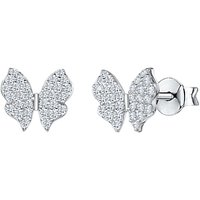 shop for Jools by Jenny Brown Cubic Zirconia Butterfly Stud Earrings, Silver at Shopo