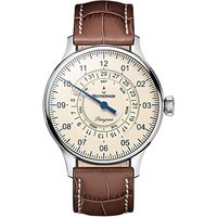 MeisterSinger PDD903 Unisex Pangaea Day Date Automatic Leather Strap Watch, Tan/Cream