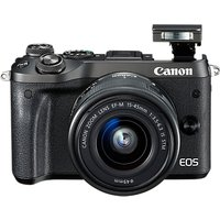 Canon EOS M6 Compact System Camera with EF-M 15-45mm IS STM Lens, HD 1080p, 24.2MP, Wi-Fi, Bluetooth, NFC, 3.0 LCD Tiltable Touch Screen, Black