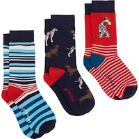 Joules Brilliant Bamboo Dog Ankle Socks, Pack of 3, Multi