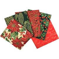 Craft Cotton Co. Metallic Poinsettia Print Fat Quarter Fabrics, Pack of 5, Red/Gold