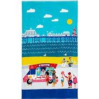 John Lewis National Treasures Beside the Seaside Beach Towel, Blue