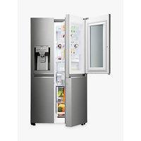 LG GSX961NSAZ Insta View American Style Fridge Freezer, A++ Energy Rating, 90cm Wide, Noble Steel